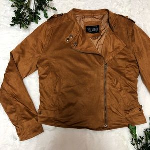 NWT Camel Faux Suede Moto Jacket - Large